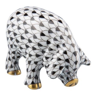 Herend Fishnet Black and White Pig For Sale