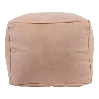 1990s Vintage Moroccan Tan Leather Plain Square Pouf For Sale