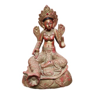 Early 19th Century Antique Burmese Guanyin Wooden Statue For Sale