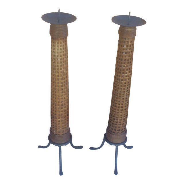 Mid Century Wooden Cane Wrapped Candlesticks - 2 - Image 1 of 5
