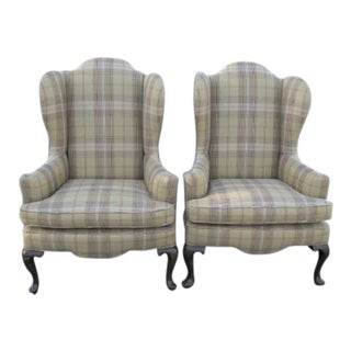 1980s Ethan Allen English Traditional Ralph Lauren Plaid Fabric Wingback Chairs - a Pair