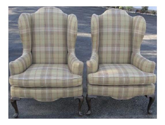 Etonnant A Pair Cream Plaid Ethan Allen Wingback Chairs   Ralph Lauren Style