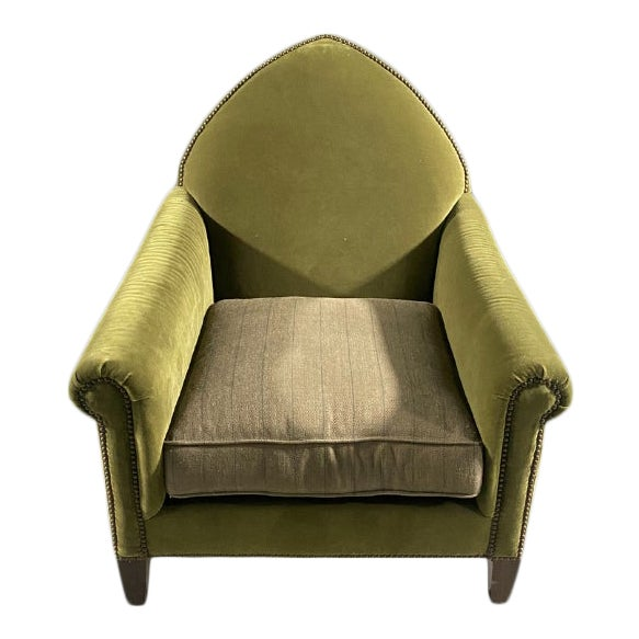 Luxe Green Velvet Gothic Chair With Nailhead Trim and Plaid Seat. For Sale