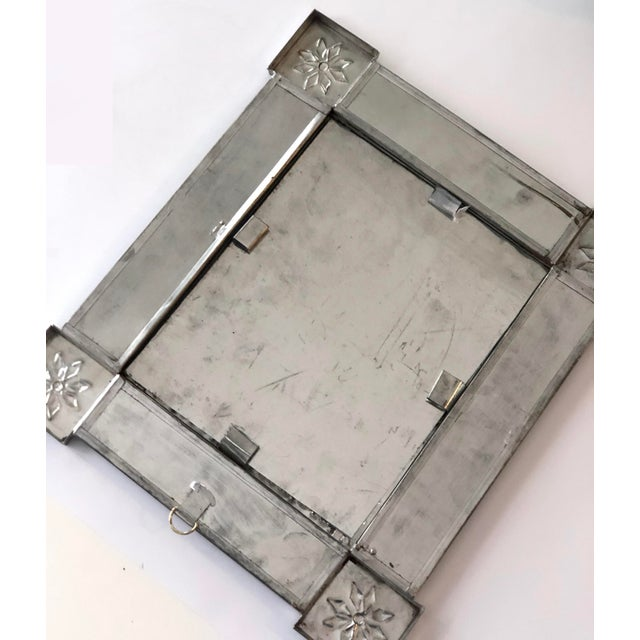 Vintage Mexican Blue and White Handmade Tile Mirror For Sale - Image 12 of 12