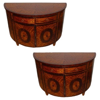 Pair of Demilune Console Tables For Sale