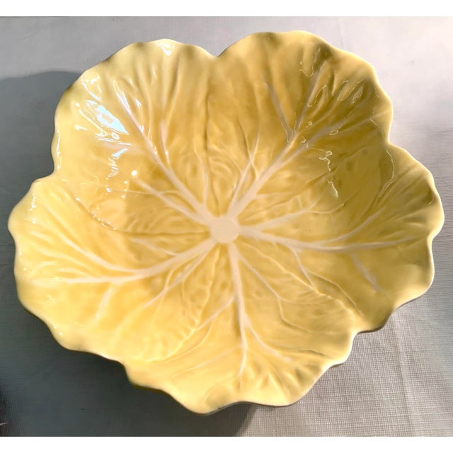 Farmhouse 20th Century Cottage Majolica Yellow Cabbage Serving Bowl For Sale - Image 3 of 8