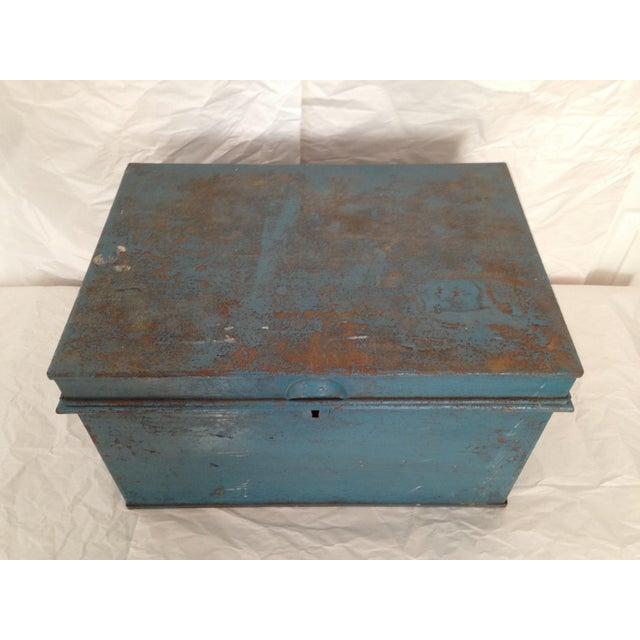 Vintage Metal Locking Box - Image 3 of 8