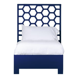 Honeycomb Bed Twin Extra Long - Navy Blue For Sale