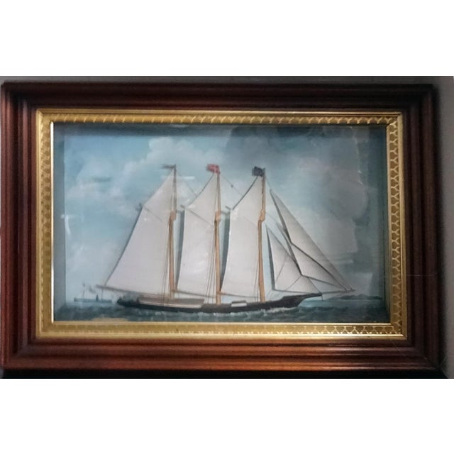 Mid 19th Century 1850s Antique Victorian Ship Diorama For Sale - Image 5 of 5