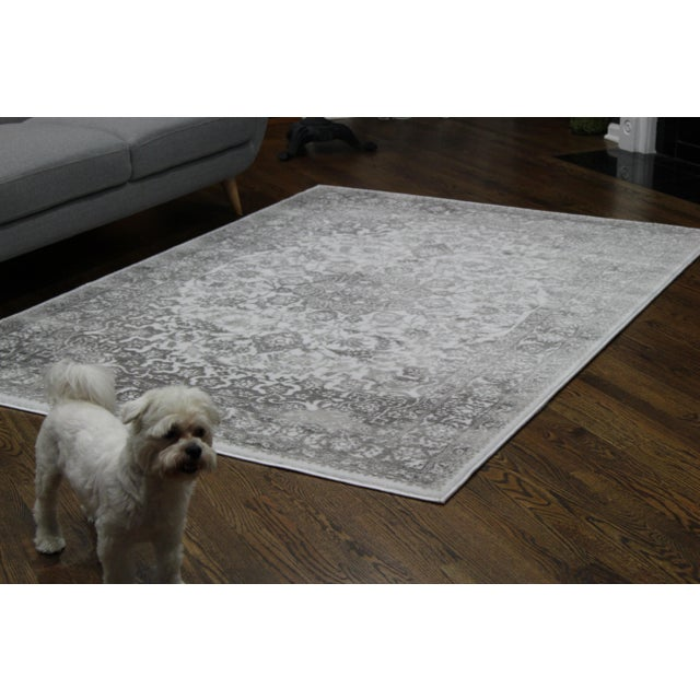 "Distressed Medallion Silver Gray Rug - 8' x 10'7"" - Image 3 of 8"
