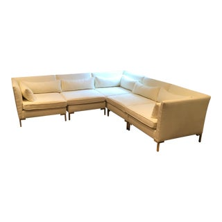 Ivory White Velvet Sectional Sofa For Sale