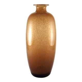 1960s Hand Blown Amber Glass Vase by Glashytta Norway For Sale