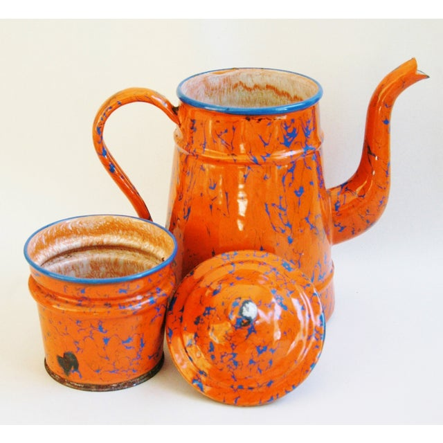 1940s French Marbleized Enameled Coffeepot - Image 6 of 7
