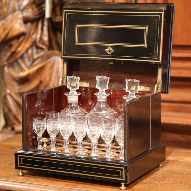 Late 19th Century 19th Century French Napoleon III Mahogany Cave à Liqueur With Bronze Inlay For Sale - Image 5 of 7