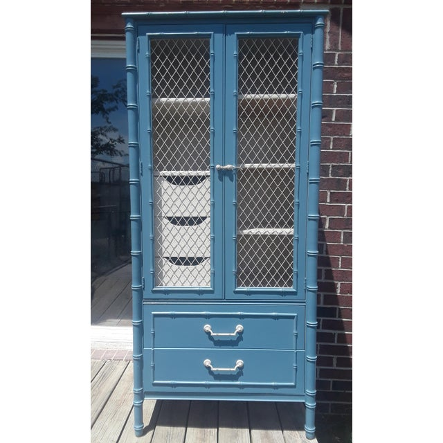 Thomasville Allegro Chinoiserie Style Faux Bamboo Armoire For Sale - Image 11 of 11