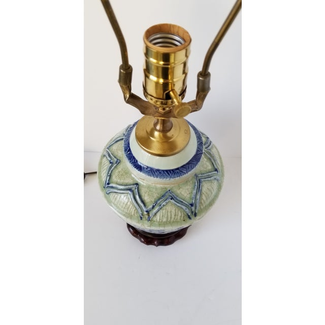 Metal Antique Chinese Celadon Ginger Jar Lamp For Sale - Image 7 of 9