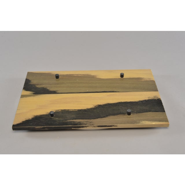 Contemporary Hand Stained Wood Tray With Metal Oval Insert For Sale - Image 3 of 8