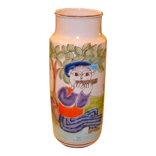 Desimone Hand Painted Tall Art Pottery Flute Player Flower Vase, Italy For Sale