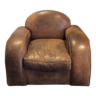 Vintage Primitive Leather Club Chair For Sale