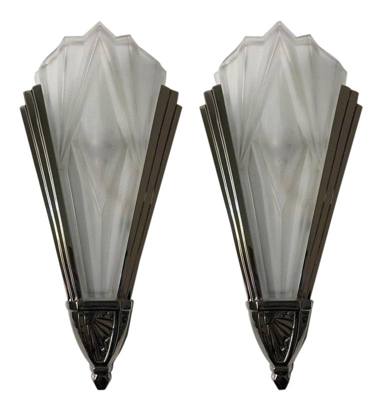 Beautiful Pair Of French Art Deco Wall Sconces Signed By Degue   Image 1 Of  10