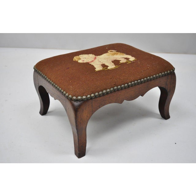 Antique Victorian Small Puppy Dog Needlepoint Petite Stool For Sale - Image 4 of 10