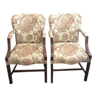 Dark Mahogany Chippendale Dining Arm Chairs - A Pair For Sale