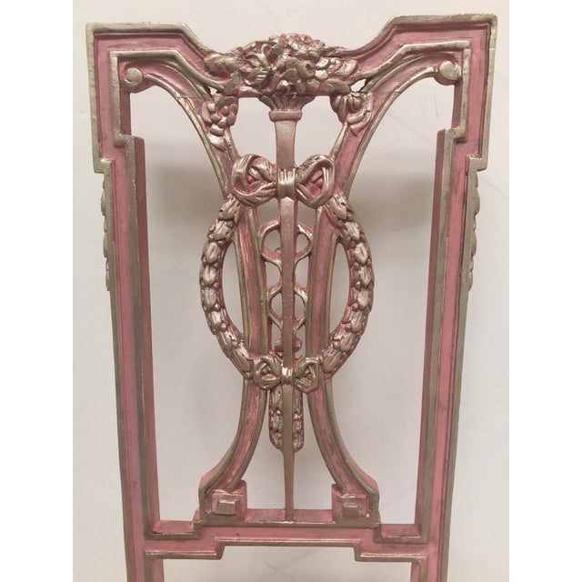 Wood F. Louis XVI Style Chair in Pink For Sale - Image 7 of 8