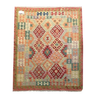 Pakistani Multicolored Wool Kilim Carpet - 4′8″ × 6′5″