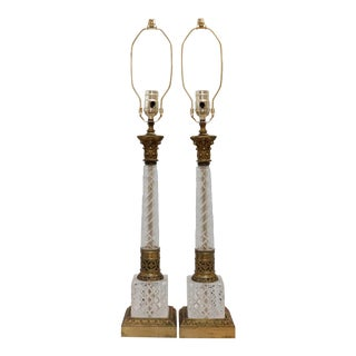 French Empire Cut Glass & Brass Table Lamps - a Pair For Sale