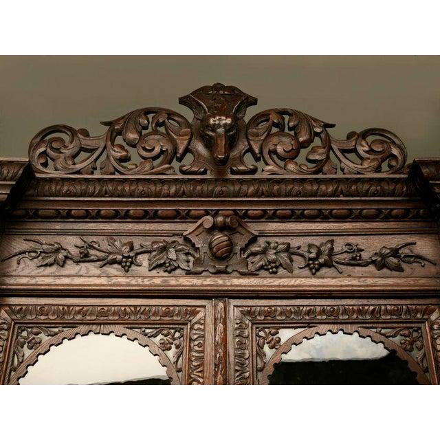 Brown Antique French Carved Oak Hunt Cabinet For Sale - Image 8 of 10