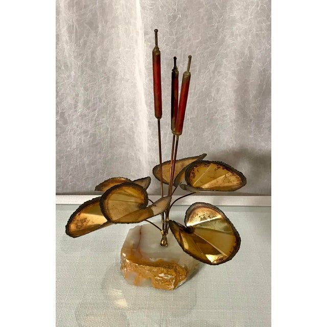 Curtis Jere Mid-Century Brutalist Brass Cattail Sculpture Stone Base Attributed to Curtis Jere For Sale - Image 4 of 4