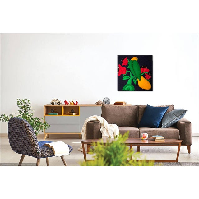 Mid-Century Modern Vintage Plush Fabric Wall Art of Tropical Bird on Flowers For Sale - Image 3 of 10