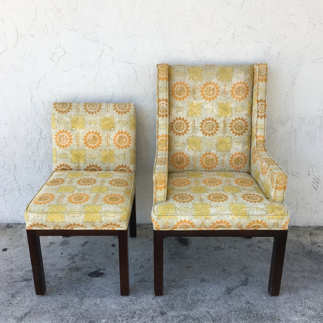 Fabric Upholstered Yellow Orange Fl Dining Chairs Set Of 8 For Image