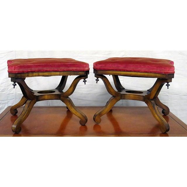 Mid 20th Century Vintage Mid Century Walnut Regency Style Footstools- A Pair For Sale - Image 5 of 5