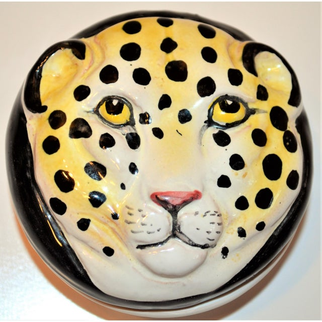 Vintage Italian Leopard Face Trinket Box For Sale In Houston - Image 6 of 6