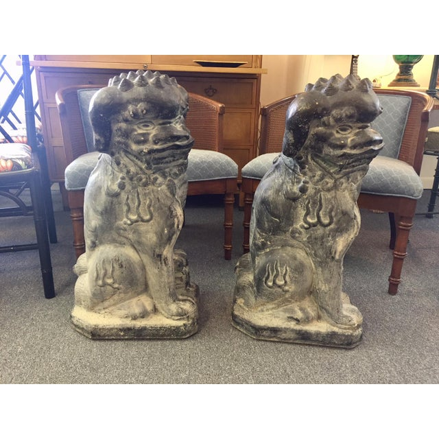 Concrete Rotten Stone Rubbed Foo Dog Statues - A Pair For Sale - Image 10 of 10