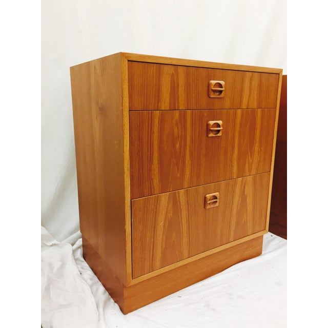 Stunning Vintage Mid Century Modern Eames Era Chest from Denmark. Made of Teak Wood. 3 Drawers over plinth style base....