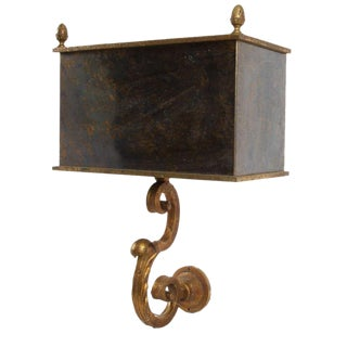 French Glass Shade Wall Sconce For Sale