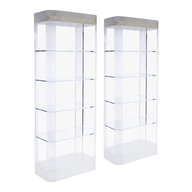 1970s Lighted Lucite Etageres - a Pair For Sale