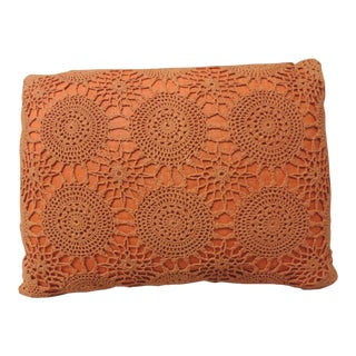 Vintage Orange Crochet Bolster Decorative Pillow