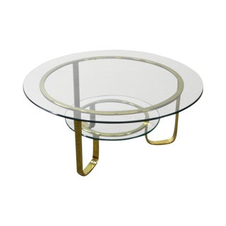 Design Institute of America Mid Century Modern Round Brass & Glass Top Coffee Table