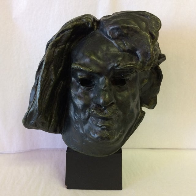 Reproduction of a bronze bust of de Balzac by A. Rodin. The busts base detaches from the bust and is inscribed with Alexis...