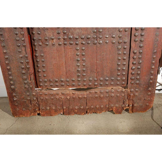 Mid 19th Century Moroccan Ryad Studded Moorish Antique Door For Sale - Image 5 of 8