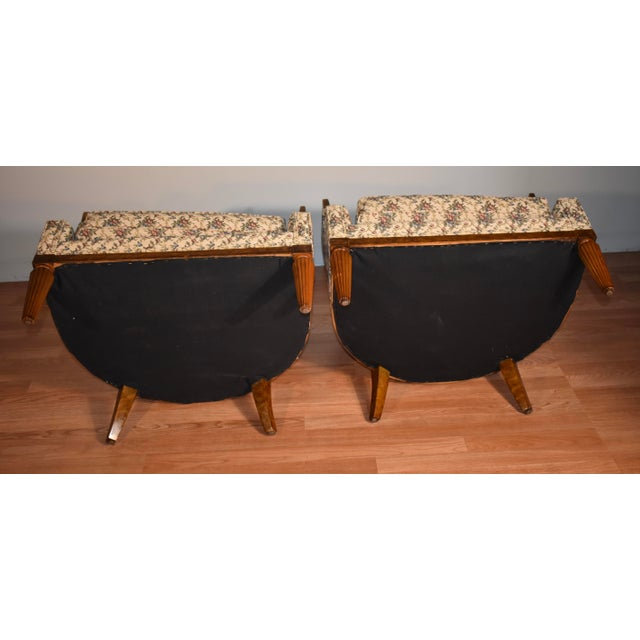 1950s Biedermeier Style Burl Fruit Wood Fireplace Chairs - a Pair For Sale - Image 12 of 13