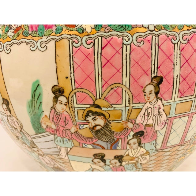 Vintage Chinese Famille Rose Canton Hand Painted Fishbowl Planter For Sale In Jacksonville, FL - Image 6 of 10