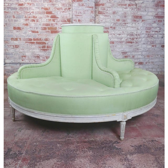 Louis XVI Style Fabulous Painted & Upholstered Round Settee For Sale - Image 4 of 8