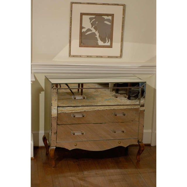 Art Deco Mirrored Art Deco Three Drawer Chest with Brass Accents For Sale - Image 3 of 9