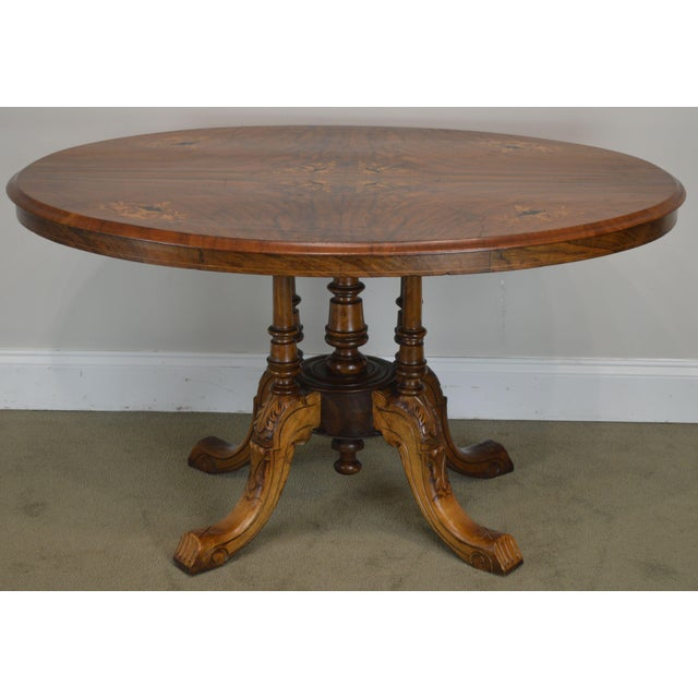 Traditional Antique Burl Walnut Victorian Inlaid Oval Parlor Table For Sale - Image 3 of 13