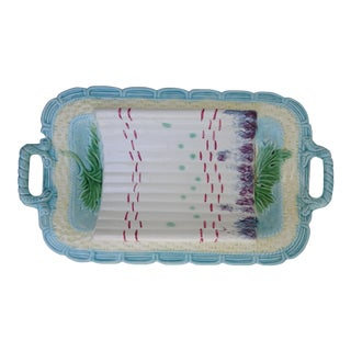 Early 1900s Barbotine Faience Majolica Asparagus Platter For Sale