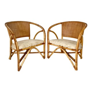 Mid Century Rattan Chairs - a Pair For Sale